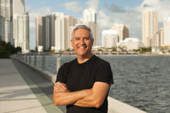 Handsome middle age man. Along Biscayne Bay in Miami Stock Images