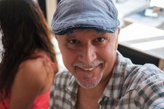 Handsome man selfie. Handsome middle age man selfie portrait royalty free stock photo