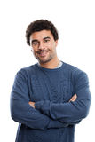 Handsome Middle Eastern Man portrait. Studio portrait of a handsome young middle eastern man with arms folded in his twenties isolated on white background stock photography