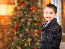 Handsome Mixed Race Caucasian and Hispanic Boy In Front of Chris. Tmas Tree royalty free stock image