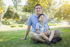 Handsome Mixed Race Father and Son Park Portrait Royalty Free Stock Photography