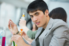 Handsome mixed race guy working at laboratory Royalty Free Stock Image