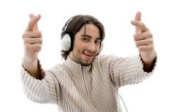 Handsome model listening music Royalty Free Stock Photo