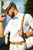 Handsome model man in casual cloth with hat Royalty Free Stock Photo