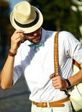 Handsome model man in casual cloth with hat Stock Photography