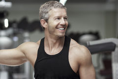 Handsome model portrait at gym Stock Image