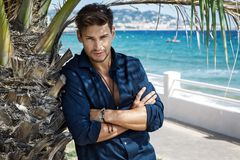 Handsome model posing under the palm tree royalty free stock images