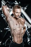 Handsome model young man training arms in gym. Handsome muscular Caucasian man of model appearance working out training arms in gym gaining weight pumping up Stock Images
