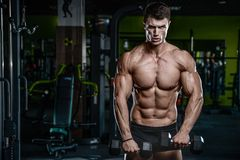 Handsome model young man training arms in gym Royalty Free Stock Images