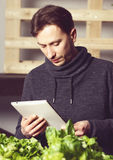 Handsome modern grower using his tablet while growing plants ind Stock Image