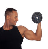 Handsome muscled man training with dumbbells Royalty Free Stock Images