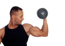 Handsome muscled man training Stock Image
