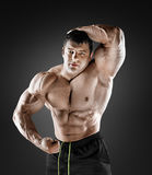 Handsome muscular bodybuilder posing over black background. Stock Photography