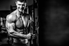 Handsome model young man training arms in gym Stock Photo