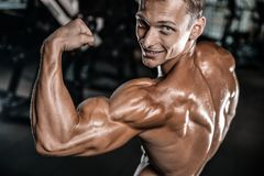 Handsome model young man training arms in gym. Handsome muscular Caucasian man of model appearance working out training arms in gym gaining weight pumping up Royalty Free Stock Images
