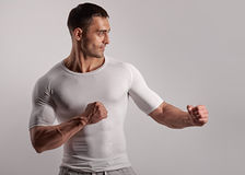 Handsome muscular fighter Royalty Free Stock Photo