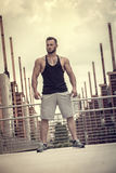 Handsome Muscular Hunk Man Outdoor in City Setting Royalty Free Stock Image