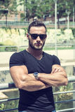 Handsome Muscular Hunk Man Outdoor in City Setting Royalty Free Stock Photography
