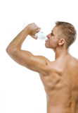 Handsome Muscular Male Drinking Water Royalty Free Stock Image