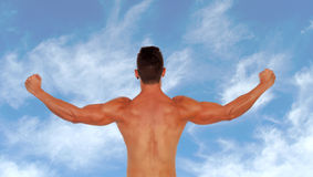 Handsome muscular man back Stock Images