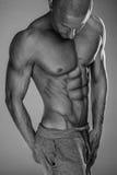 Handsome muscular man shirtless. Wearing grey pants Stock Images
