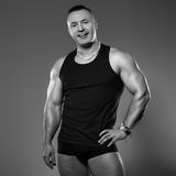 Handsome muscular man in studio Stock Photo