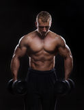 Handsome muscular man working out with dumbbells Royalty Free Stock Photos