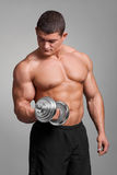Handsome muscular man working out with dumbbells. On gray background Stock Image