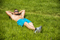 Handsome Muscular Shirtless Hunk Man Outdoor in City Park Stock Image