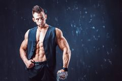 Stylish shirtless man in waistcoat stock images