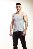Handsome muscular sporty fit man portrait. Stock Image