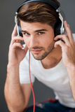 Handsome music lover. Stock Photo