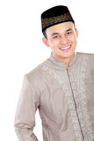 Handsome muslim man smiling. And posing on white background Stock Images