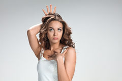 Handsome narcissistic proud young woman Royalty Free Stock Image