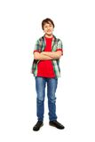Handsome nice boy standing isolated on white Stock Photos