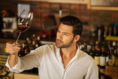 Handsome nice brunette man squinting his eyes. Skilled sommelier. Handsome man squinting his eyes while looking at the glass with wine Stock Photography