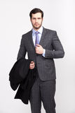 Handsome office business man with beard dressed in elegant suit, Stock Photography