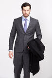 Handsome office business man with beard dressed in elegant suit, Royalty Free Stock Photo