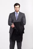 Handsome office business man with beard dressed in elegant suit, Royalty Free Stock Image