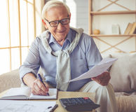 Handsome old man at home Stock Photography