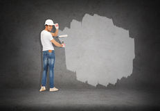 Handsome painter in helmet from the back Royalty Free Stock Image