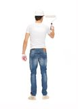 Handsome painter in helmet Royalty Free Stock Photography