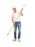 Handsome painter in helmet Royalty Free Stock Images