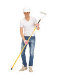 Handsome painter in helmet Royalty Free Stock Photos