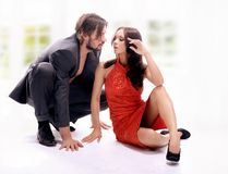 Handsome pair indoors Royalty Free Stock Images