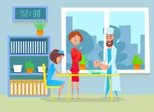 Handsome pediatrician doctor weighing a newborn child at polyclinic. Handsome pediatrician doctor weighing a newborn child at polyclinic Royalty Free Stock Image