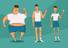Handsome person in a different forms. Set of cartoon style illustrations. Man with excess weight, in normal shape and with underwe Royalty Free Stock Photo