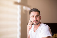 Handsome on the phone Royalty Free Stock Photo