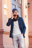 Handsome on the phone. Royalty Free Stock Images