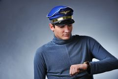 Handsome pilot Stock Photography